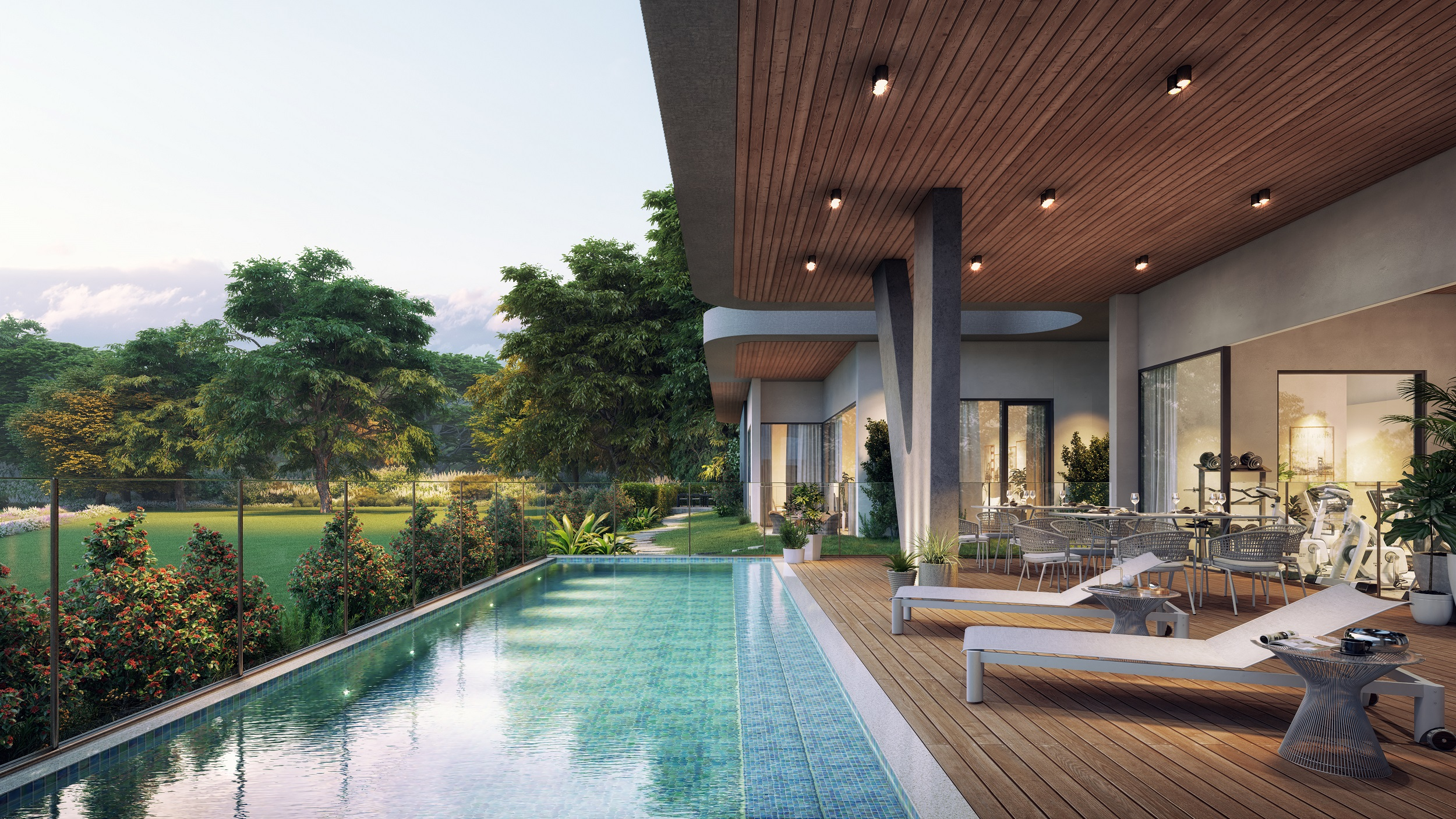 The project includes a wellness centre, a gym, yoga room, children's play area and an outdoor lap pool.