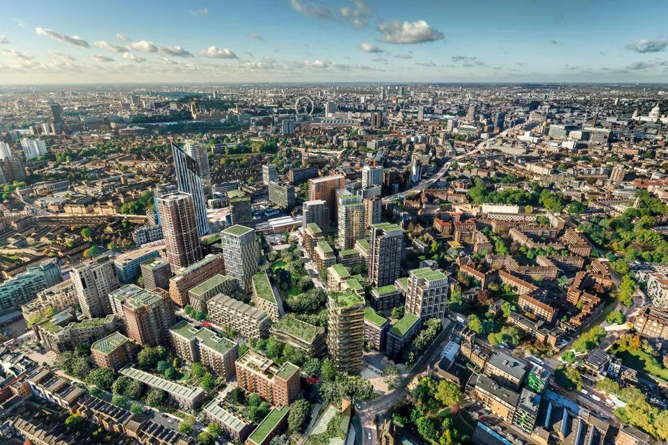 Lendlease, and the Canada Pension Plan Investment Board struck a £1.5 billion partnership to invest in UK's build-to-rent private rental sector. Pictured: A rendering of London's Elephant and Castle neighbourhood.