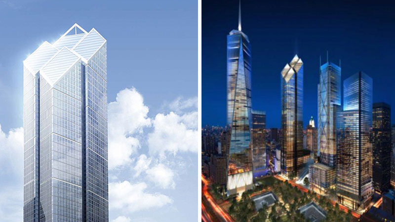 ▲ Foster's original 2WTC design comprised a cluster of four diamond-shaped shards.