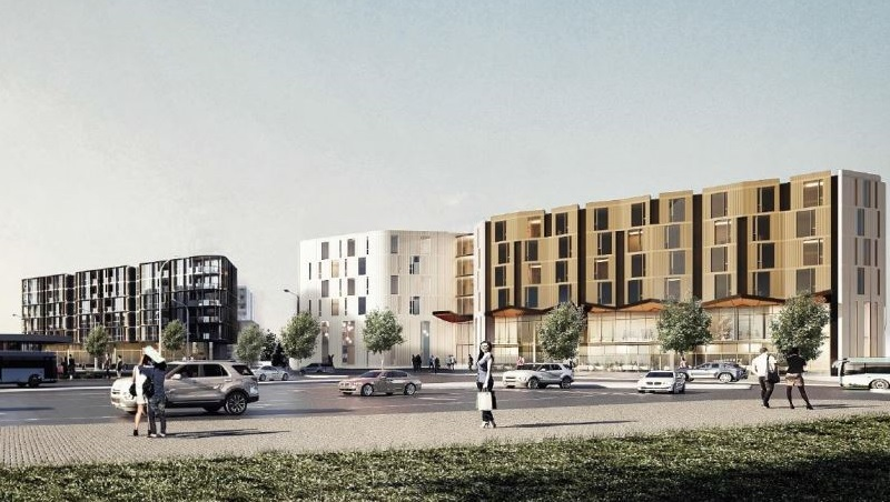 An artist's impression of black, white and gold mid-rise buildings on the O'Riordan Street, Mascot development site.