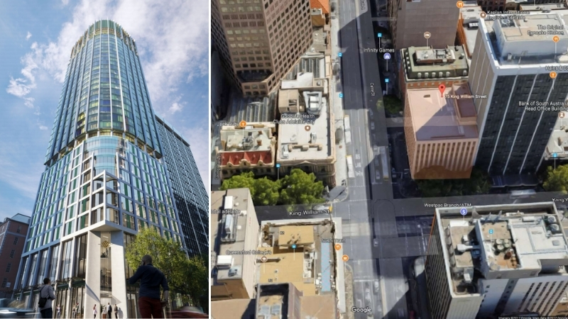 Two images: the hotel tower planned for King William Street in Adelaide and the building it will replace.