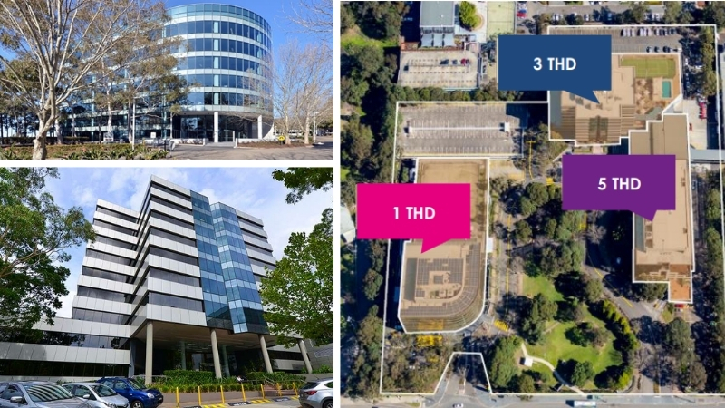 The rounded building at 1 THD, angular multi-storey 3 THD building and an aerial of the office cluster in Macquarie Park.