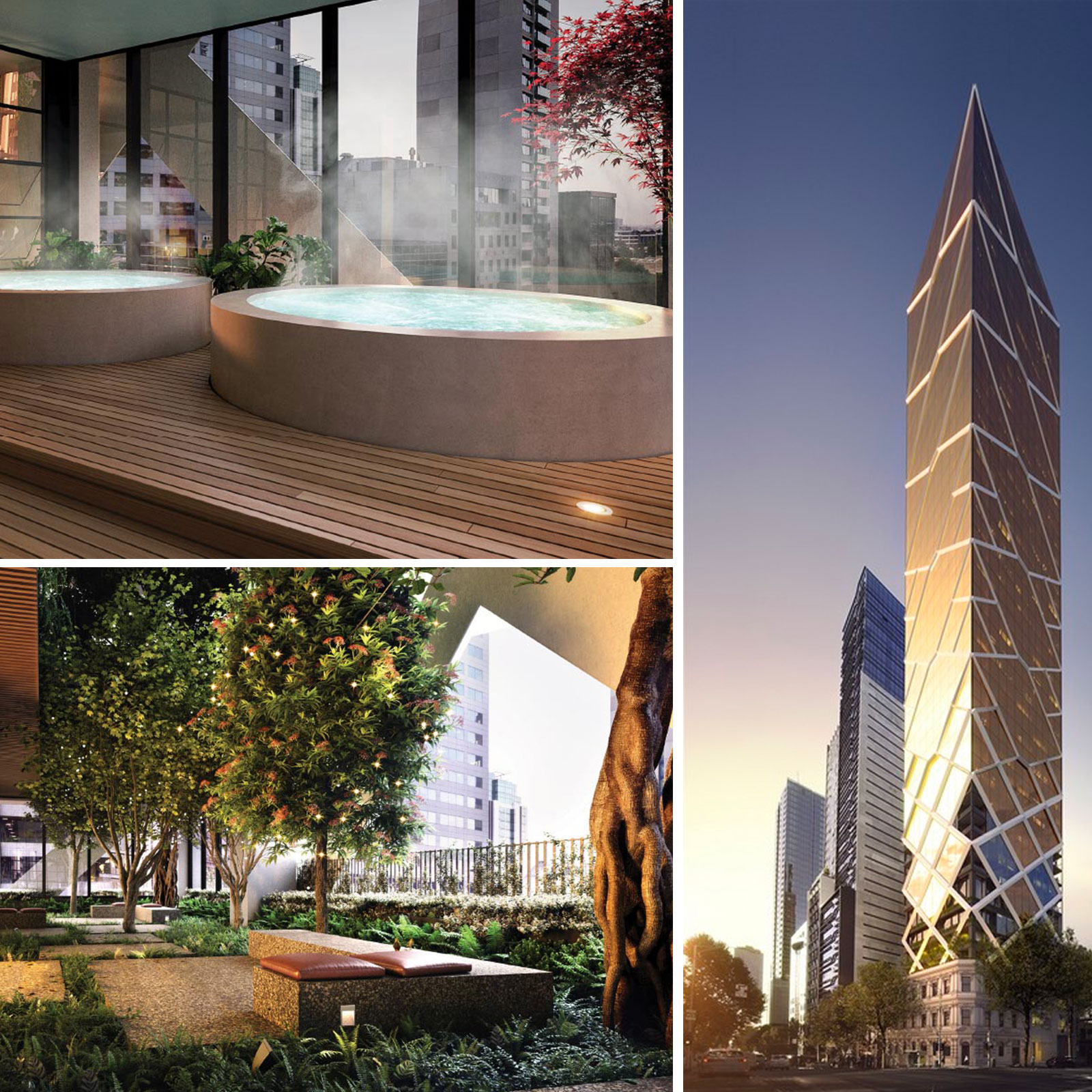 Paragon will include a three-storey indoor forest, a professional kitchen and lounge with views across the CBD, a library, private theatre and a wellness centre.