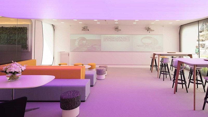 """▲ Inside Dubai's """"Office of the Future"""" is white and minimalist in style."""