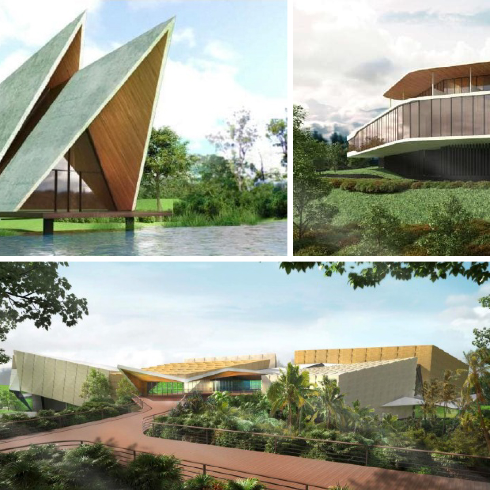Artist impressions of a chapel (top left), health and wellness centre (right) and art museum (bottom) in the Gold Coast hinterland.