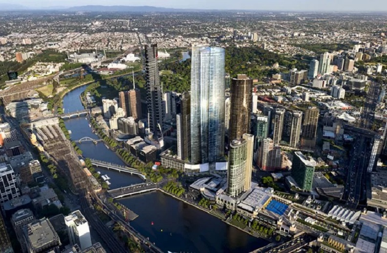 Previously approved plans for One Queensbridge in Melbourne were made by Architectus for Crown and Schiavello.