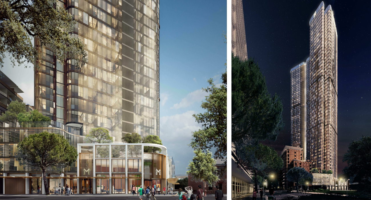 Meriton's $229 million dual-tower proposal will comprise 767 residential apartments, 216 serviced apartments and childcare centre.
