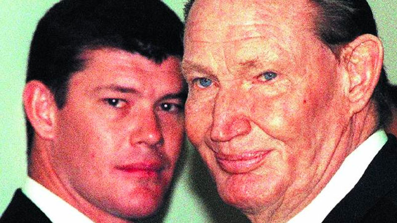 James Packer and his media mogul father Kerry.