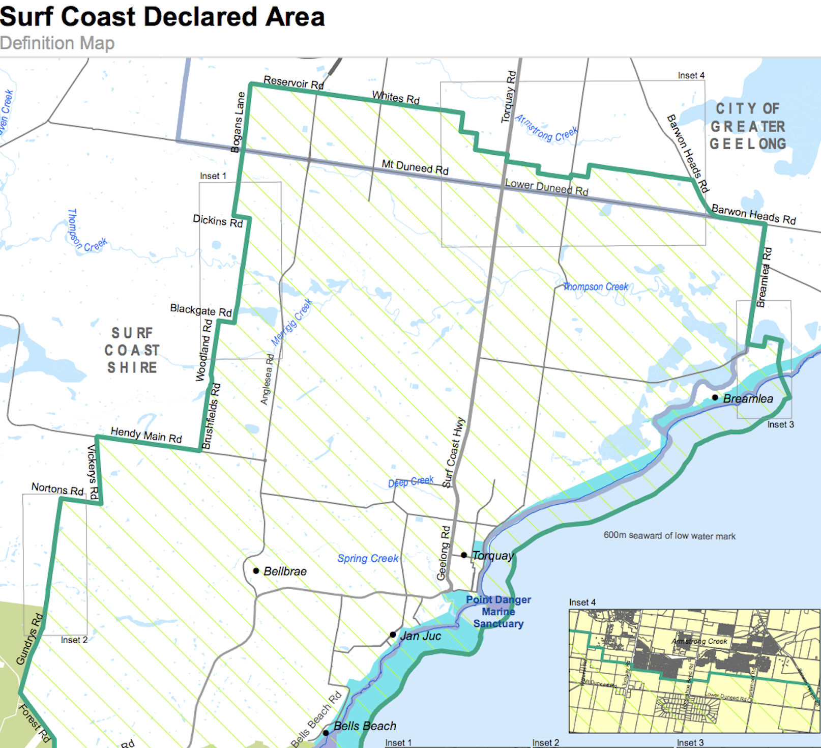 The declared area covers Torquay and Jan Juc, and expands along the coastline from the Great Otway National Park to Breamlea Flora and Fauna Reserve.