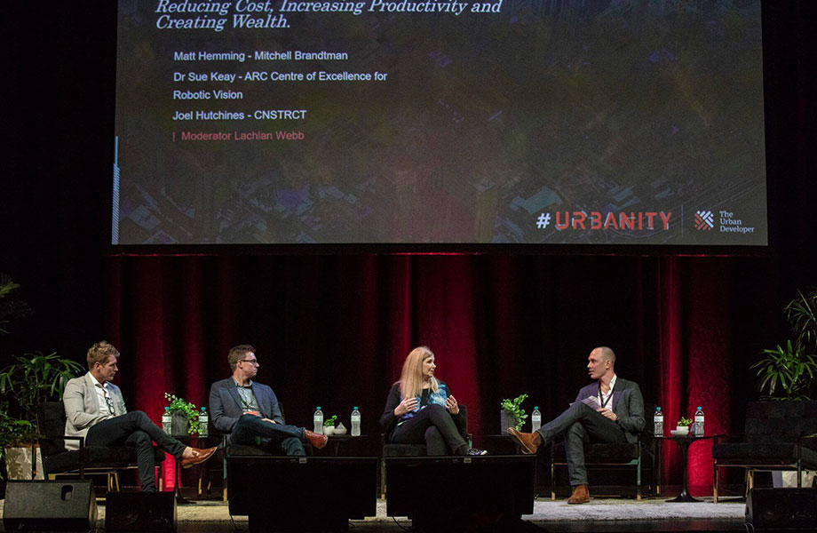 (L to R) Joel Hutchines speaking at Urbanity with Matt Hemming of Mitchell Brandtman, Dr Sue Keay of ARC Centre of Excellence for Robotic Vision.