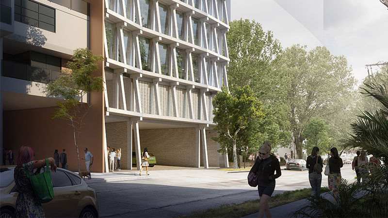 ▲ The project will have to key access points, one to the main street address in Botany Road and the other to Wyndham Street. Image: Chenchow Little Architects