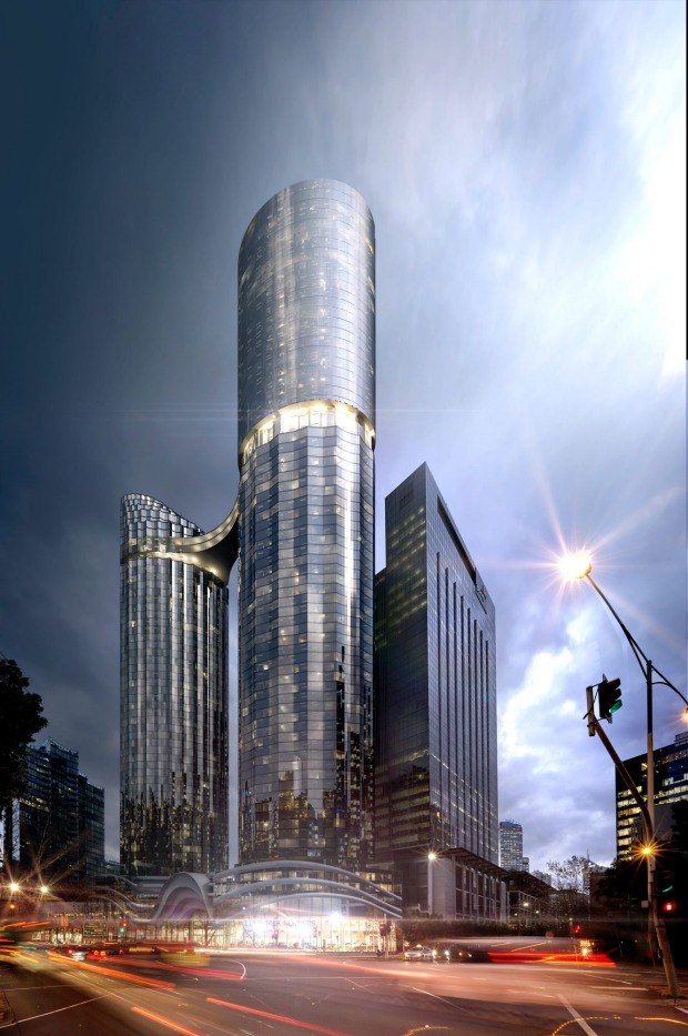 Fender Katsalidis worked on a scheme for two towers joined by a sky-bridge for the site. Image: Concept render