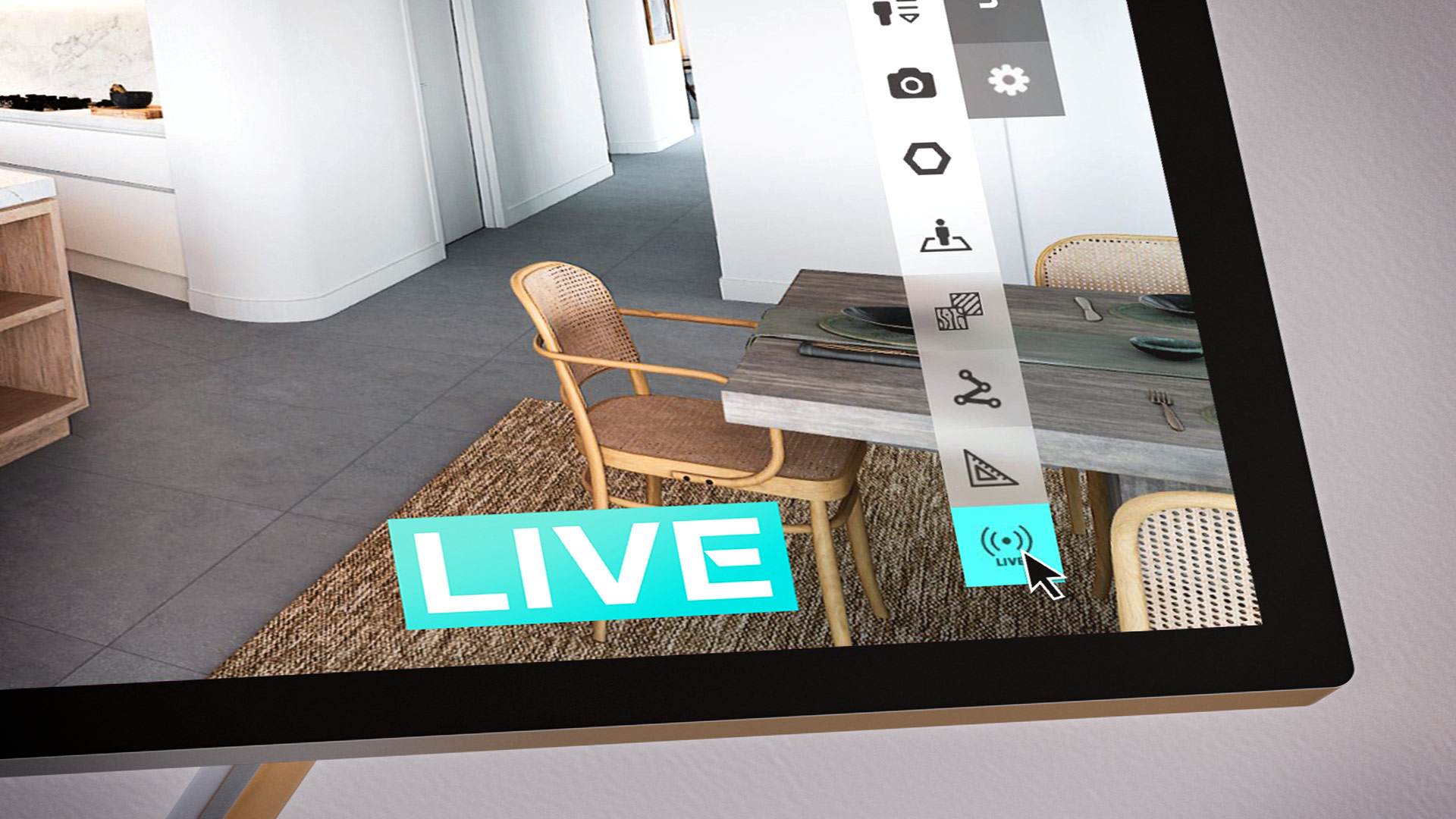 ▲ A single button click activates Realspace Live to stream a virtual open home tour to anyone, anywhere with an online connection.