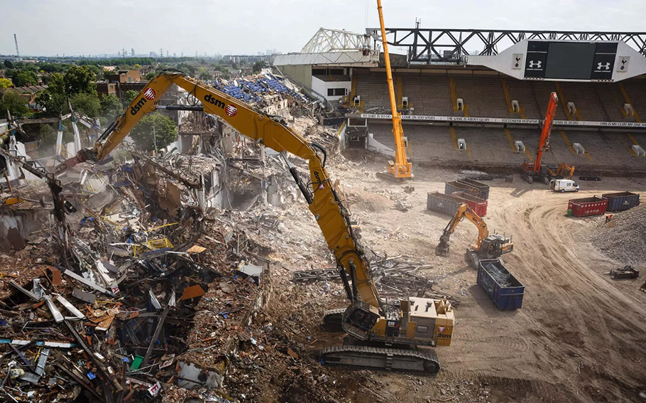 The demolition of White Hart Lane began 24 hours after the final league game after standing for 118 years.