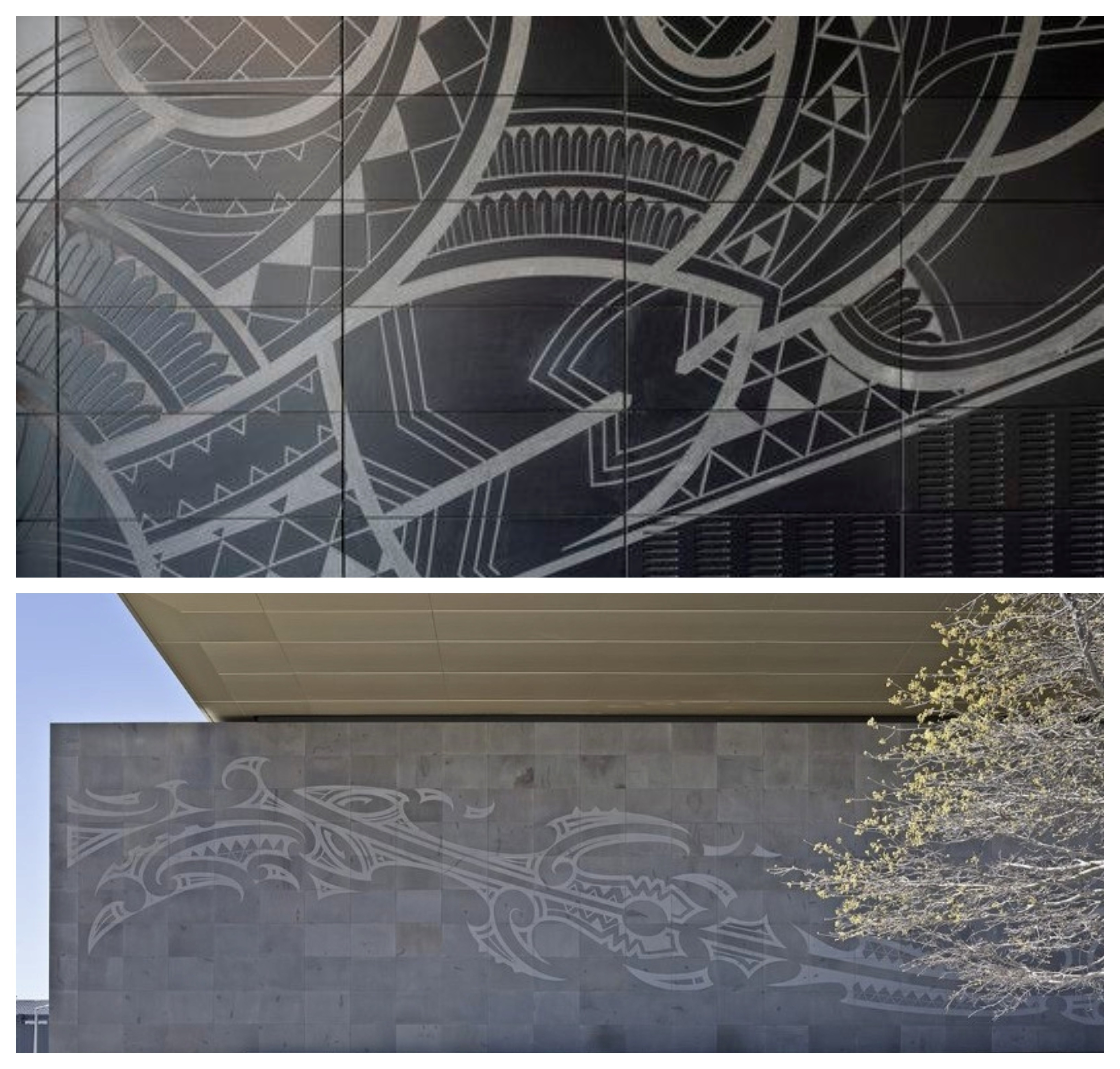 Local Māori artists Morgan Mathews-Hale and Riki Manuel collaborated on the design that was sand blasted by hand onto bluestone tiles of the 38-metre external wall of Tūranga.