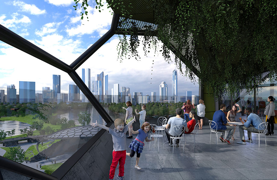 Plans for the Gold Coast's HOTA, rooftop view.