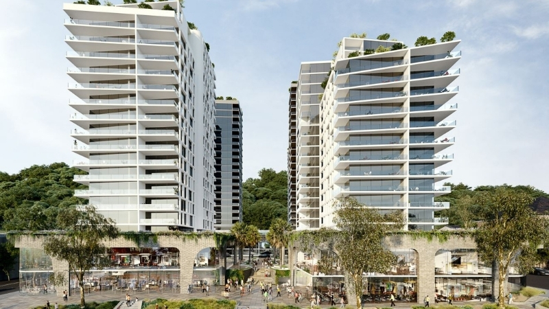 ▲ Lederer Group's Gosford Alive project will see five white residential towers with retail and commercial podiums build on the site.