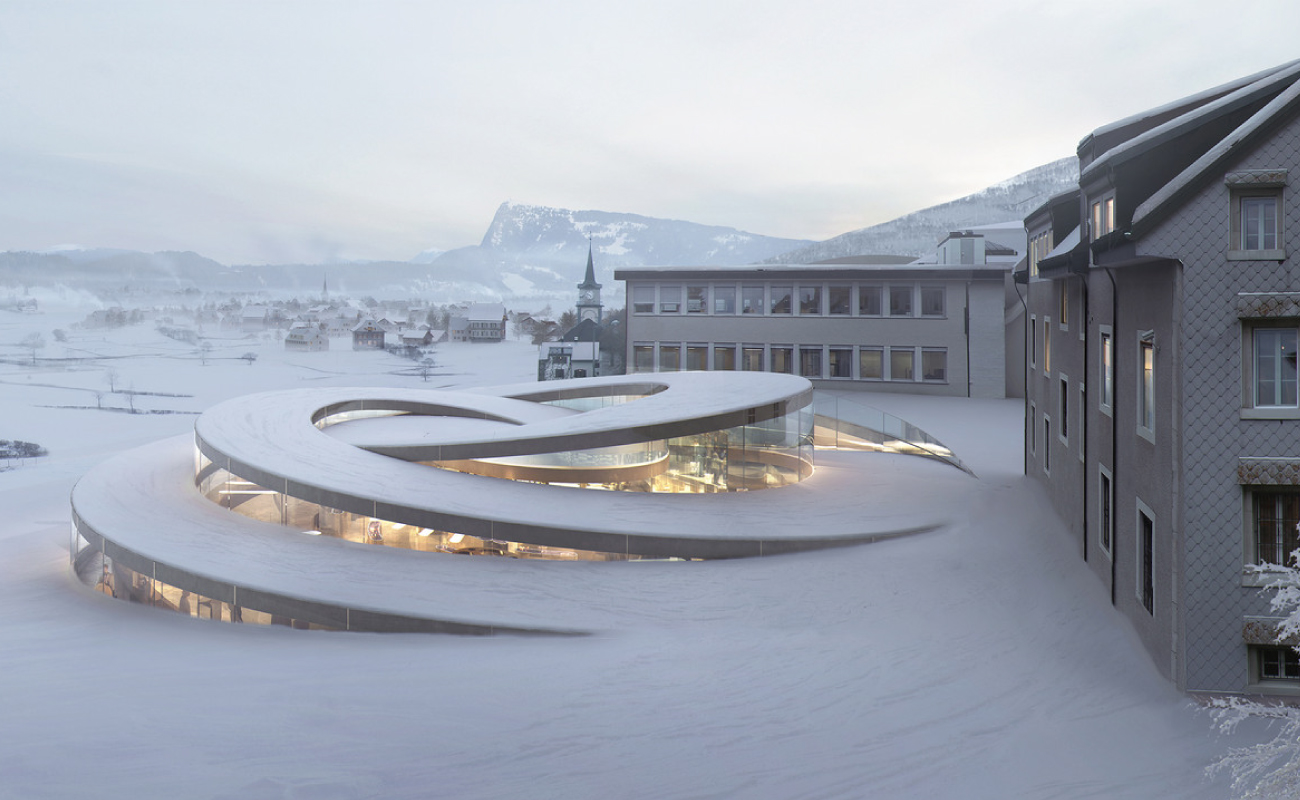 BIG designed a spiralling extension for Audemars Piguet's headquarters in the Vallée de Joux