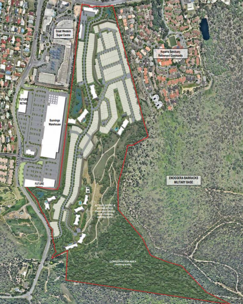 The site has development approval for low to medium density and medium density residential.
