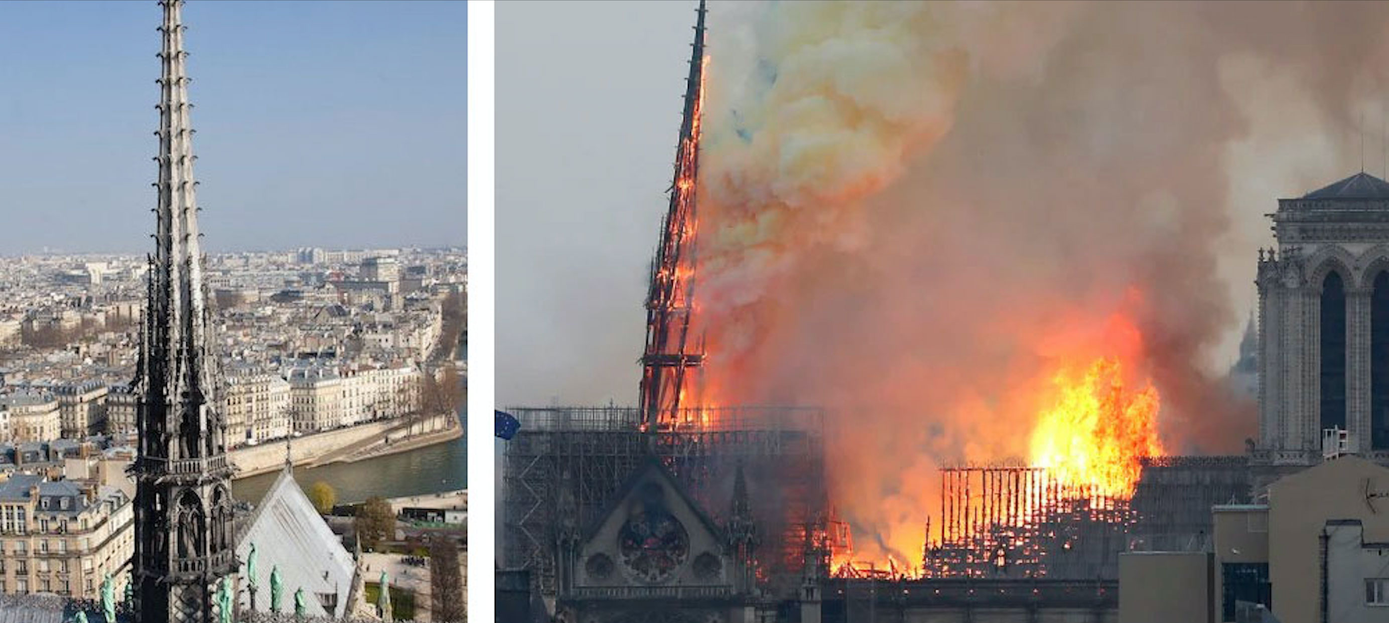 The 93-metre spire was completely destroyed in the blaze.
