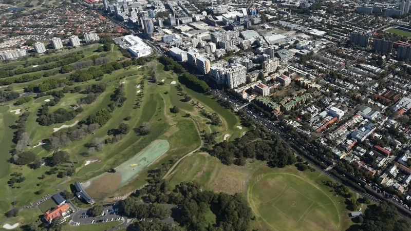 Aerial image of Moore Park Golf Course located in the middle of one of Australia's most densely populated residential areas.
