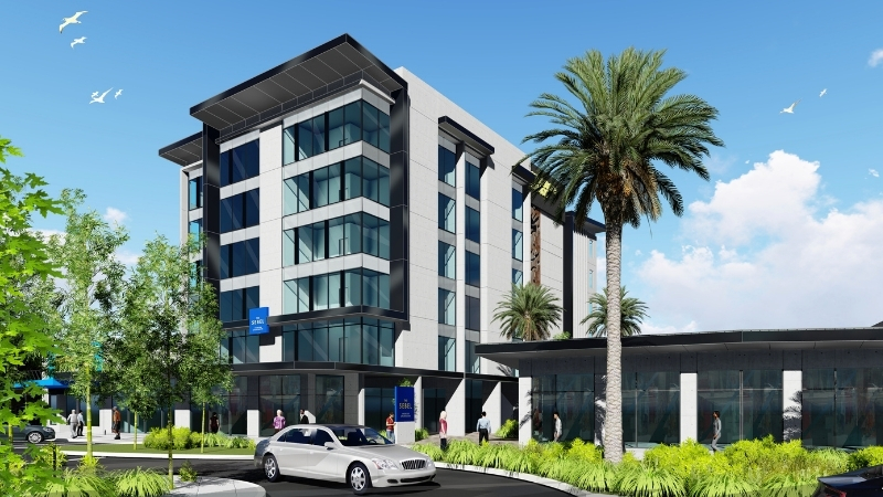 An artist's impression of The Sebel in Lower Hutt, New Zealand with a large palm out the front of a six-storey hotel.