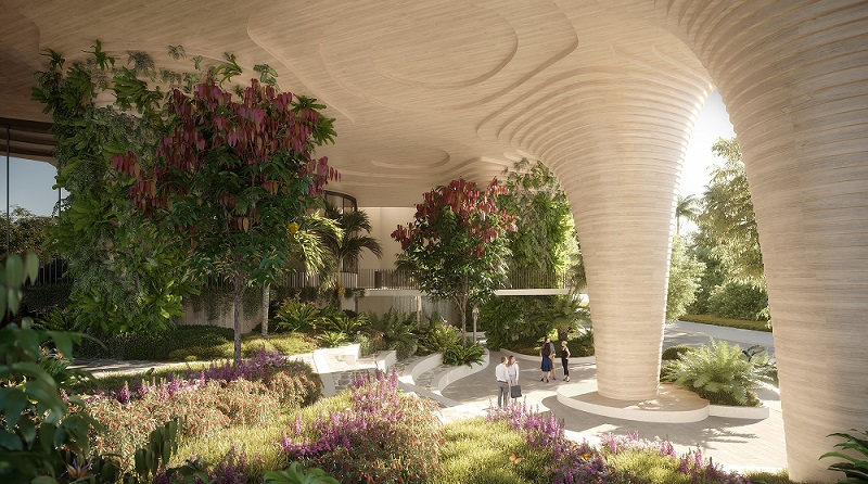 Common space and the new Glenelg Street park in South Bank, Brisbane sits underneath the 30-storey Urban Forest tower.