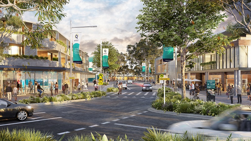 The 2040 vision for the corner of Barry Street and Mill Lane in Glenorchy, Tasmania replaces carparking.
