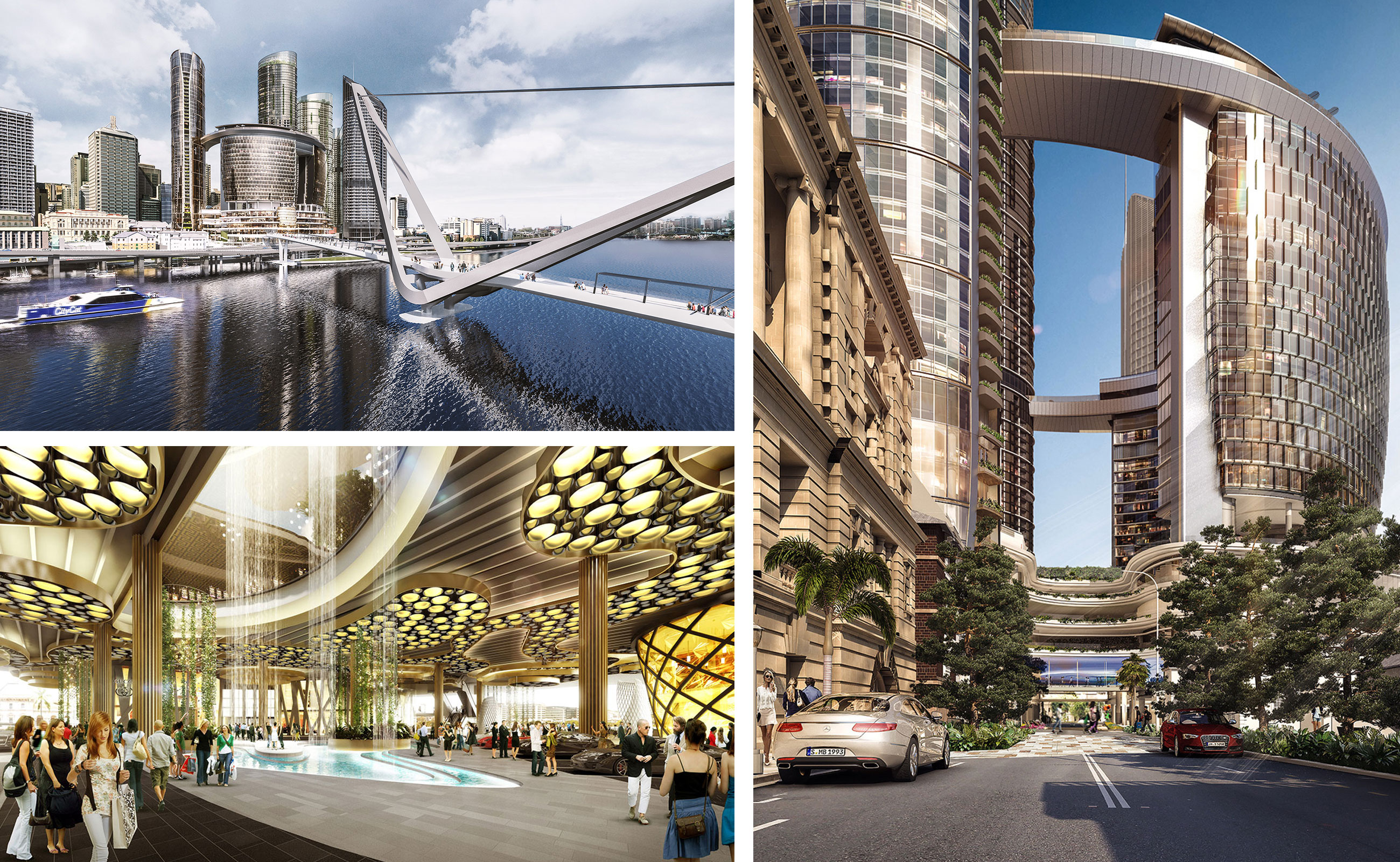 Artistic renderings of the Queen's wharf integrated-resort precinct.