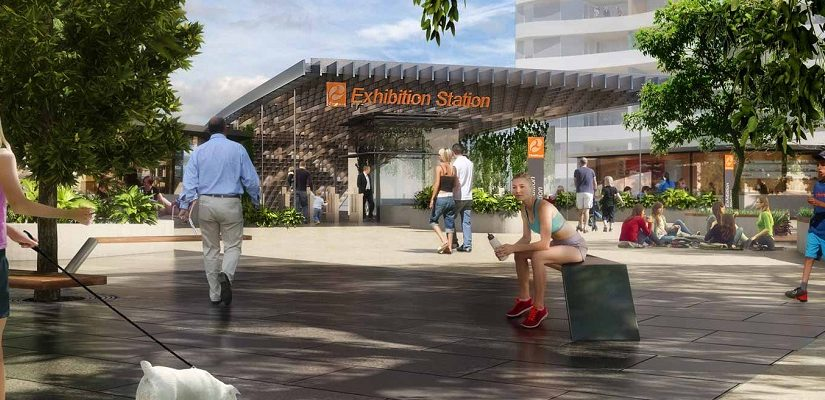 Proposed Exhibition station on Cross River Rail. Artist's Impression.