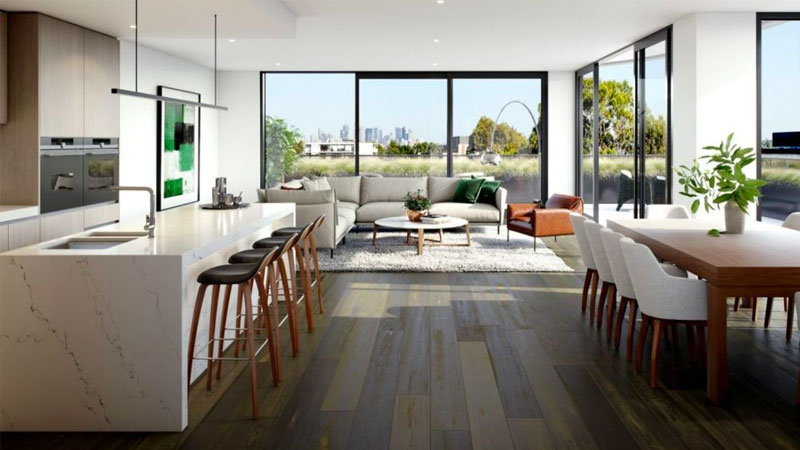 Apartments will feature oak floorboards, stone benchtops and Siemens appliances.
