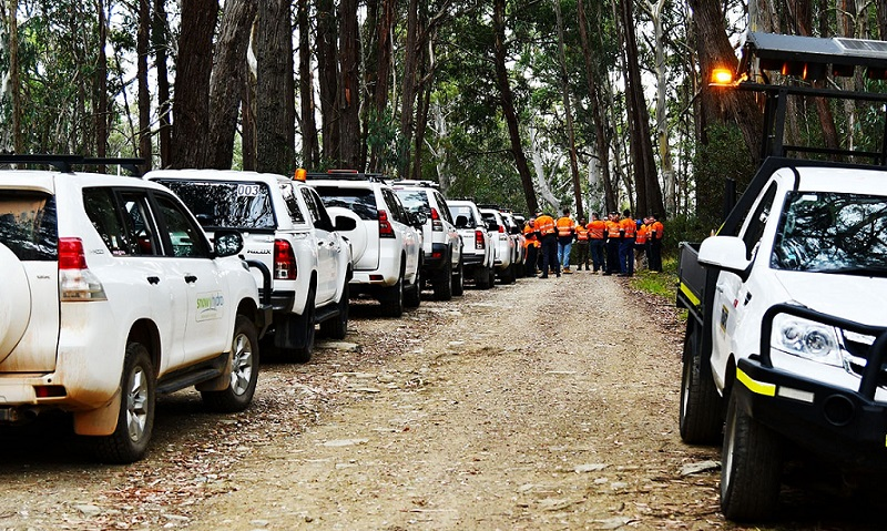 White four-wheel drives line a dirt road in the Snowy Mountains while workers in high-vis inspect the Snowy 2.0 site.