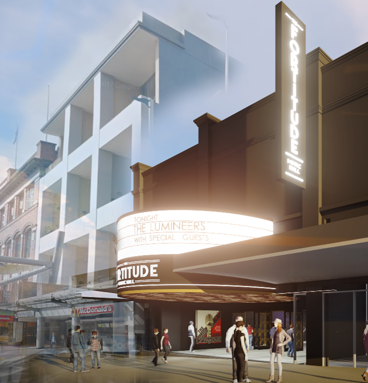 Queensland architect Andrew Gutteridge from Arkhefield is behind the venue's design. The front façade offers a modern twist on Art Deco style.