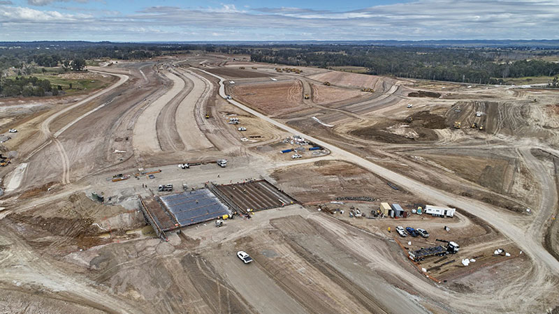 ▲ Western Sydney Airport construction update: Badgerys Creek Road Bridge  while under construction.