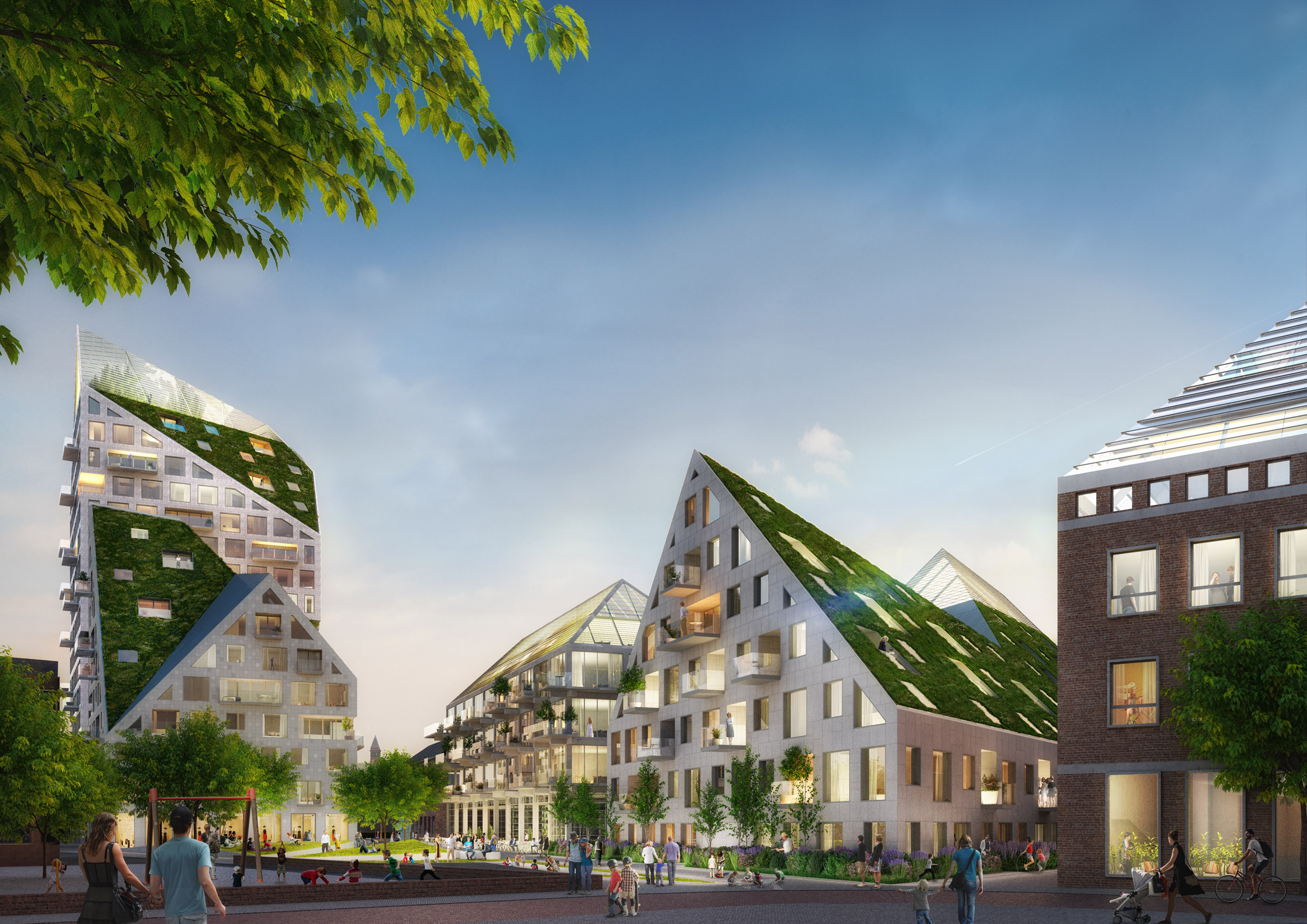 In 2017, MVRDV unveiled plans for a residential tower complex in Eindhoven, The Netherlands. It developed the jagged outline by drawing imaginary planes at 45-degree angles from the base of neighbouring residential buildings.
