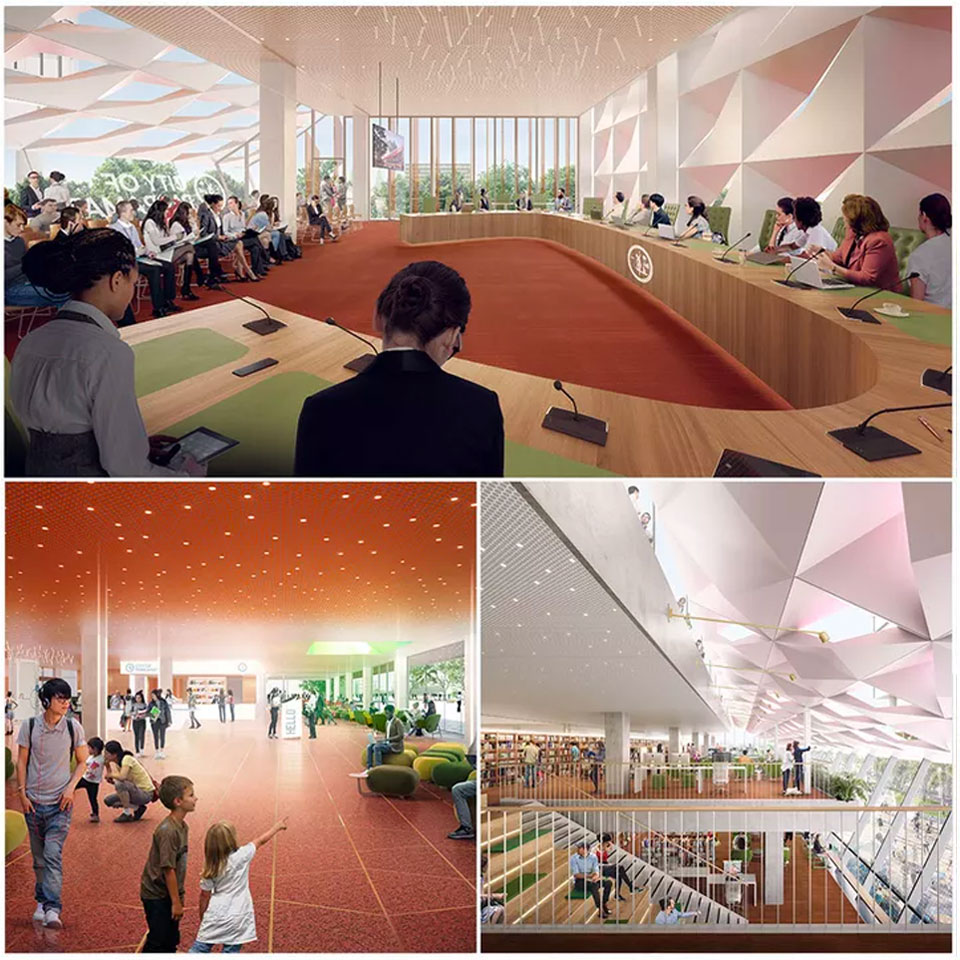 ▲ The civic building will incorporate council chambers, a library/community hub, a customer service centre and community rooms. Image: DesignInc, Lacoste Stevenson, Manuelle Gautrand Architecture.
