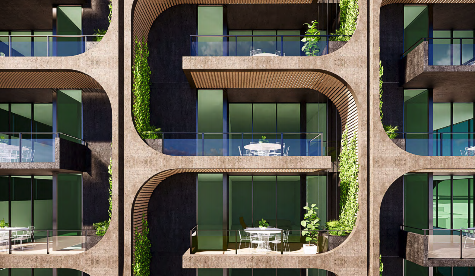 Vertical greenery is incorporated in the façade.