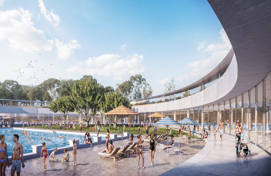 "Artist's render of the design for Parramatta Aquatic Centre by Grimshaw, Andrew Burges Architects and McGregor Coxall, which includes a ""ring"" encircling the outdoor pool that will also act as a fence."