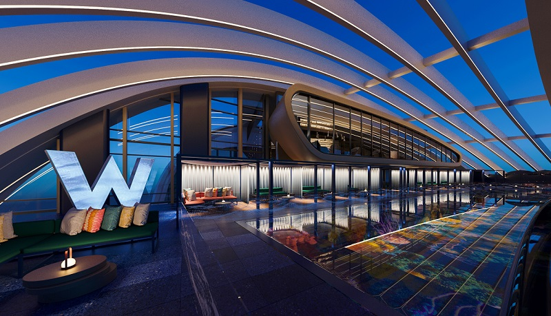 The rooftop pool at The Ribbon five-star W Hotel open to the sky in the early evening on Darling Harbour.