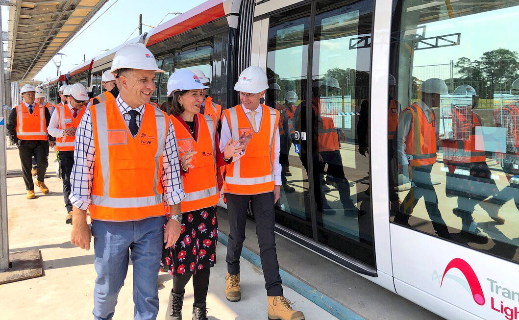 Sydney's light rail has its first daylight test with the Premier on board.