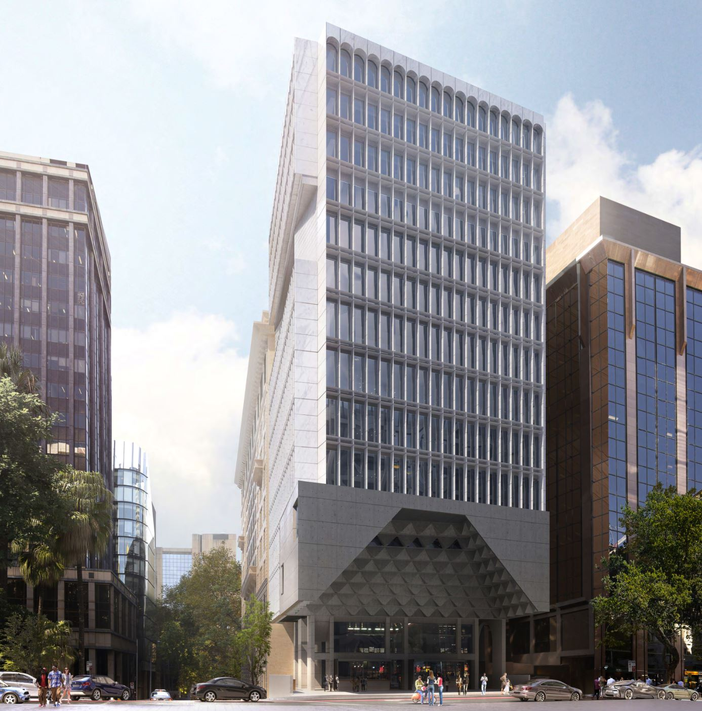 The new building will sit immediately adjacent to the heritage former Bank headquarters, incorporating into the 1920s building at each floor level.