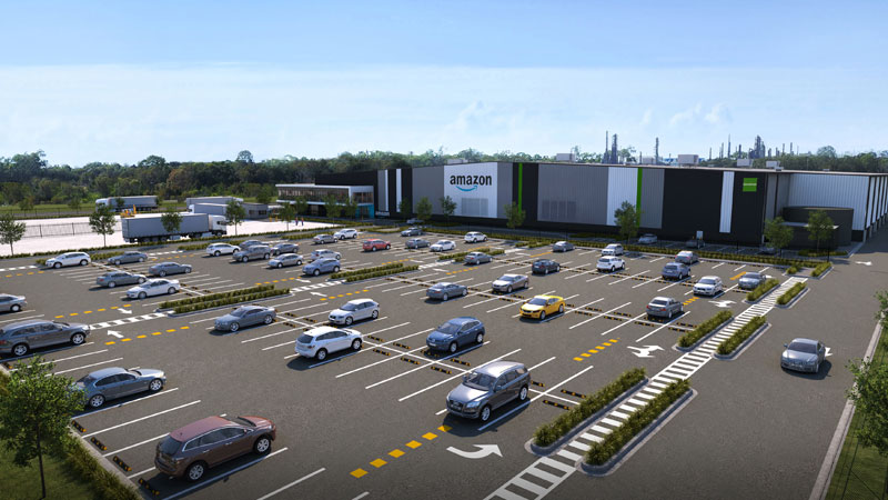 An artist rendering of a new multi-million-dollar Amazon distribution centre in Lytton.