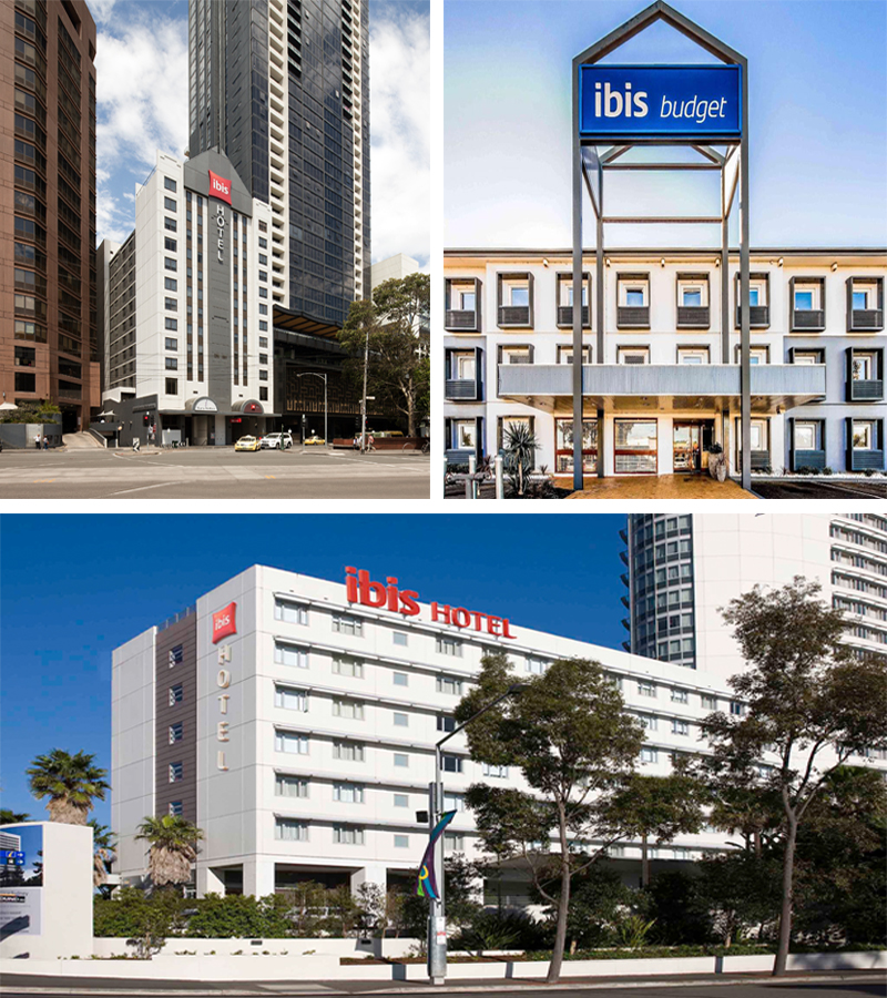 Ibis Hotel Melbourne, Ibis Budget Hotel Campbell Town and Ibis Sydney Olympic Park.