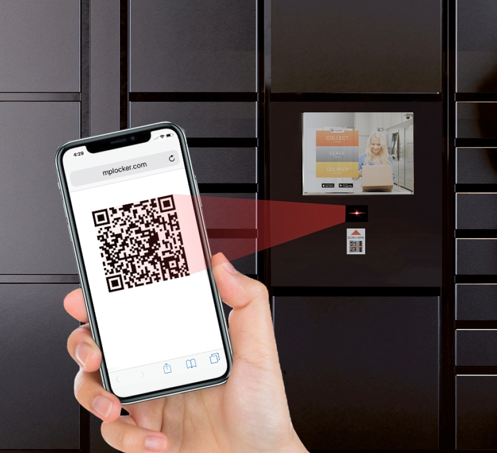 ▲ The systems provide secure touch-free delivery with users simply scanning the QR code sent to their phone.   The locker door will automatically open and they can collect their parcel without touching the locker device.