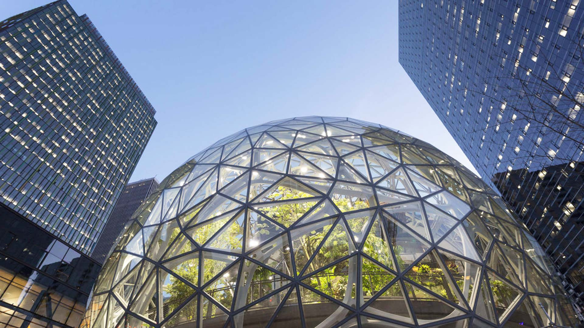 From the outside, the spheres resemble a glass-and-steel sculpture of a triple-scoop sundae. The 30-metre-high transparent balls will accommodate 1800 Amazon employees, who will be surrounded by a wilderness of plant life that includes green walls, hanging gardens and flowering shrubs.
