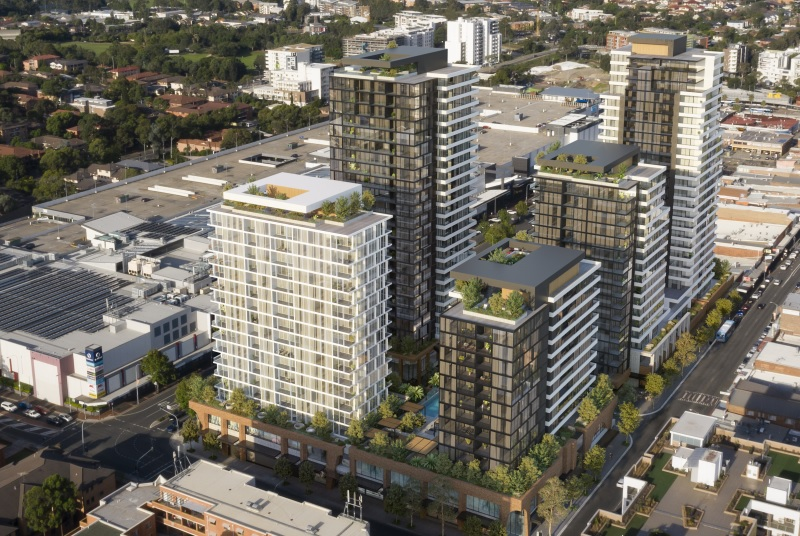 ▲ Five proposed build-to-rent towers next to Stockland Merrylands Shopping Centre.