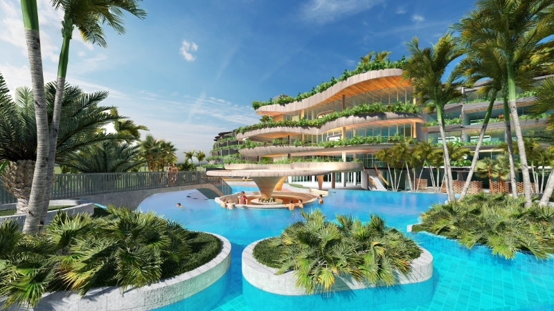 ▲ The Fairmont Port Douglas Hotel design by Buchan Group features a five-storey plus rooftop resort surrounded by pools.