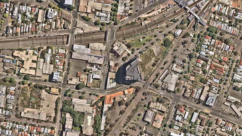 Oxford's newly acquired parcel of land sits within close proximity to the Footscray railway station. Image: Nearmap