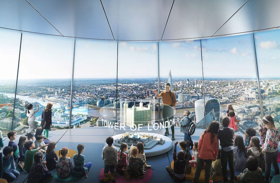 The plans include space for restaurants, bars, a viewing gallery and education spaces, as well as glass slides connecting some floors.