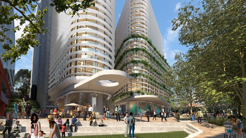 Renders of two white, triangular, office buildings and a public green space planned for a suburb north-west of Sydney.